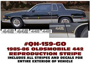 GE-QH-159 or 242 1985 1986 1987 OLDSMOBILE - 442 REPRODUCTION STRIPE & DECAL KIT