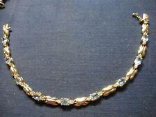 Blue Topaz Tennis Bracelet Grandmas Sterling Silver Chunky Big