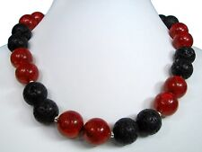 Beautiful Necklace in Foam Coral with lava-stones in Ball Shape ø-14 mm