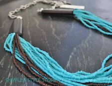 Kenneth Cole Necklace Turquoise Brown Beads Multi Strands Wood Statement NEW