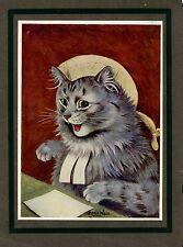 LOUIS WAIN CAT BEAUTIFUL DECORATIVE RARE ANTIQUE CHROMOLITHOGRAPH LOUIS WAIN CAT