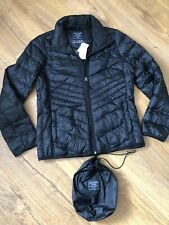 Abercrombie & Fitch Puffer Black Down Packable Jacket UK10-12, M BNWT £120.00
