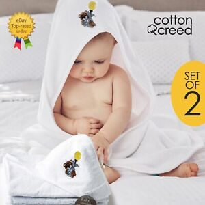 Baby Hooded Towel 2 x Luxury 100% Cotton Bear Embroidered Bath Towel 75 x 75cm