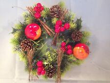 28 CM CHRISTMAS WREATH DECORATION/DOOR ARTIFICIAL XMAS RED/ORANGE APPLES/CONES