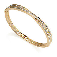 Yellow Gold Crossover Bangle with Crystals from Swarovski® in Box