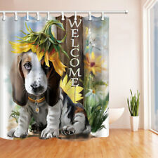 Welcome Cute Dog and Sunflower Bathroom Shower Curtain Waterproof Fabric / Hooks