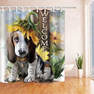 Welcome Cute Dog and Sunflower Bathroom Shower Curtain Waterproof Fabric / Hooks