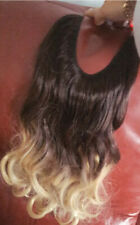 Human Hair Extensions Invisible No Clip Weave Remy Caramel Halos