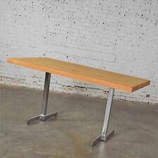 Vintage Modern Maple Butcherblock Top Dining Worktable on Hand Polished Steel Le