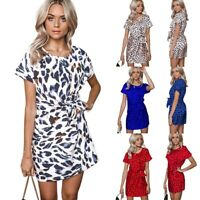Women Elegant Leopard Print O-Neck Short Sleeve Dress Ladies Summer Casual K5R3