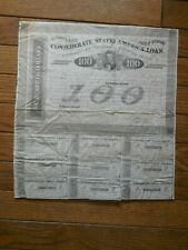 1863 Confederate $100 Bond & 9 Coupons 4$ Obsolete Currency States America Loan