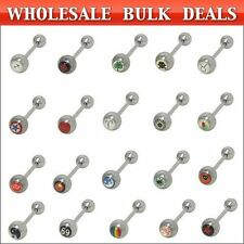 Tongue Barbell Rings Wholesale Logo 14ga 100 pack