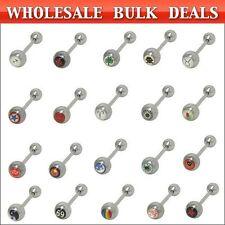 Tongue Barbell Rings Wholesale Logo 14ga 100 pack