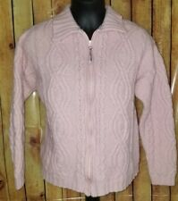 Aran Crafts Women's Irish Winter Wool Cable-knit medium Pink Full Zip Sweater