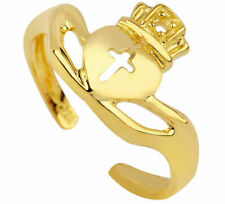 Cross Toe Ring - Yellow, Rose, White 10K Solid Gold Classic Claddagh Heart Crown