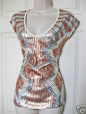 NWT bebe white silver gold stud sequin  colorblock stretchy dress top XS 0 2