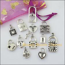 12 New Mixed Lots of Tibetan Silver Tone Locks Charms Pendants
