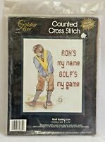 1990 NIP Counted Cross Stitch Embroidery Kit Golf Is My Game 8x10 Picture 2129F
