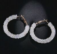 Clear Crushed AB Crystal Encrusted Hoop Earrings made with Swarovski Elements