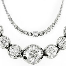 10.50 CARATS Round Cut 14K White Gold Graduated Tennis Necklace D VS2-SI1