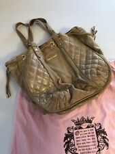 Large Juicy Couture Gold Quilted Cross Stitch Soft Leather Shoulder Bag