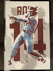 NEW Philadelphia Phillies Pete Rose Art Poster Print Cincinnati Reds Jersey Bat