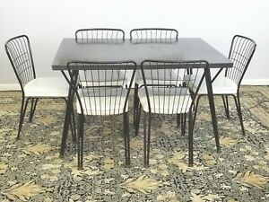 Vintage Formica Table With 6 matching Chairs Mid-Century Dining Table Set