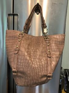 """Steve Madden Large Tote 16""""h X 18""""w Faux Crocodile Style Gold Hardware Durable"""