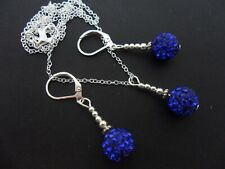 A PRETTY BLUE SHAMBALLA STYLE  NECKLACE AND LEVERBACK HOOK  EARRING SET. NEW.