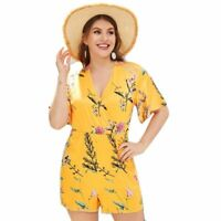 New Yellow Floral Print V-Neck Romper Women Boho Short Sleeve Plus Size Fashions