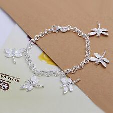 Wholesale 925Sterling Solid Silver Jewelry Crystal 5 Dragonfly Chain Bracelet
