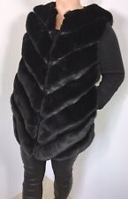 NEW Gilet Fur Faux Black Faux Leather Luxuriously Soft Shaped Hem Large 14 16