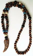 "ETHNIC INSPIRED: MENS TRIBAL LONG 30"" BLUE CREAM BROWN LAVA WOOD BEAD NECKLACE"