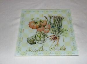 """Pfaltzgraff Heirloom Vegetable Square Glass Platter 11 ½"""" 5136503"""