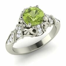 Certified Round-Cut Peridot & Real G/Si Diamond 14K White Gold Vintage Look Ring