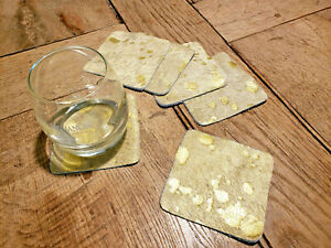 6 Untersetzer aus Kuhfell gold quadratisch 9,5cm x 9,5cm