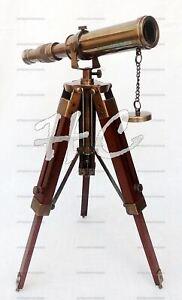 Telescope Antique Marine Brass 10 Inches With Wooden Tripod Stand Desk Decor