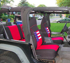 Jeep Wrangler TJ Neoprene seat cover Front and Rear full set US flag 1997-2002