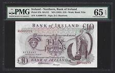 1985 Northern Ireland Bank of Ireland 10 Pounds GEM UNC PMG 65 EPQ P-67b S/N 173