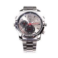 1080P 8GB Stainless Steel Waterproof Spy Hidden Camera IR Vision Cam Wrist Watch