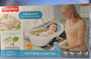 NIB Fisher Price 4 in 1 Sling n Seat Tub Baby Bath Tub Newborn Infant Toddler