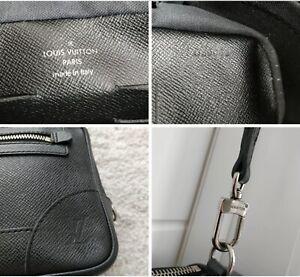 Louis Vuitton Ardoise Taiga Leather Pavel Mens Clutch Wrist Bag Handbag Purse