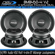 "4 PRV Audio 8MB450-4 v2 8"" Midbass Loud Speakers 450 Watt 4 Ohm Car Mid Range"