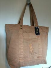 £129 Ralph Lauren Polo Coral/Distressed Peach Womens Big Pony Large Tote Bag BN