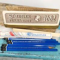 Vtg Mars Staedtler Germany Artists Tin Pencil Box 8/4H Blue Pencils Lumochrom