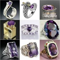 Women Fashion Ring 925 Silver Amethyst Jewelry Wedding Bridal Party Size 5-12