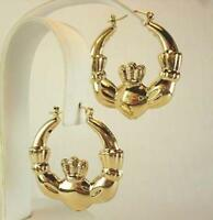 18K Gold Plated Claddagh Hoop Earrings - LIFETIME WARRANTY