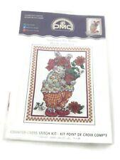 """Dmc Sunflower Pot Bunny Cross Stitch Kit Flowers K4452 8x10"""" - New"""