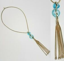 Bella Jack Necklace Blue Cut Glass Gold Tone Long Chain Tassle Fashion Jewelry