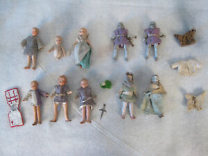"""10 Vintage 3"""" All Bisque & Composition Dollhouse Dolls Clothing Knights  1930s"""